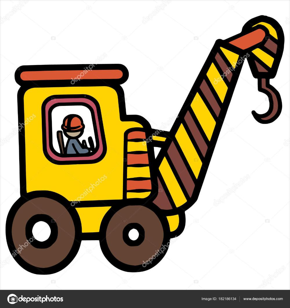 Descargar Impresiones De Grua De Dibujos Animados Sobre Fondo Blanco Para Los Ninos Camiseta Libro Color Caracter Amistoso Cute Cartoon Cartoon Character