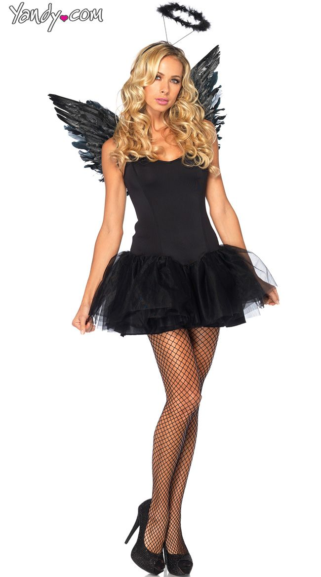 ~ Adult One Size Costume Angel Wings and Halo Kit ~ Black ~ Happy Halloween