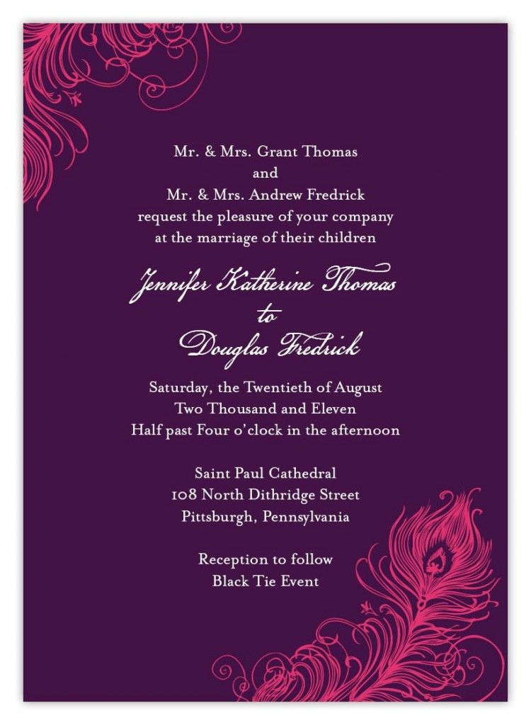 Indian Wedding Invitation Wording Template Card