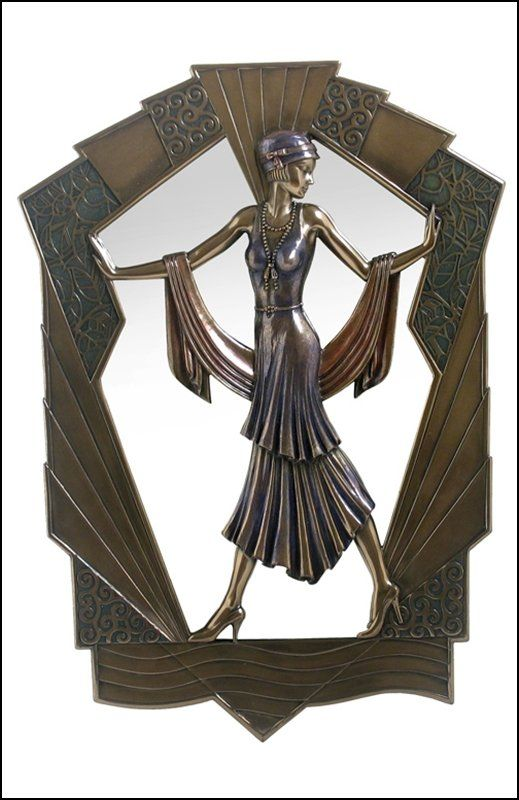 art deco lady mirror bronze art nouveau jugendstil art d co pinterest deko. Black Bedroom Furniture Sets. Home Design Ideas