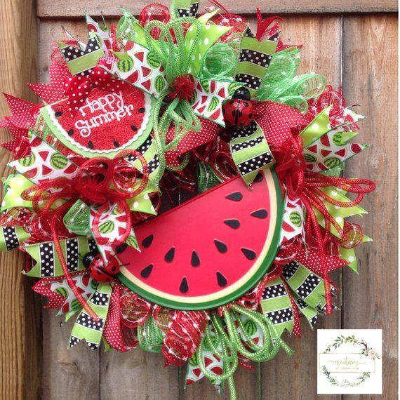 Photo of Watermelon Summer Wreath for Front Door, Summer Wreath, Watermelon Decor, Hello Summer Wreath, Summer Door Hanger