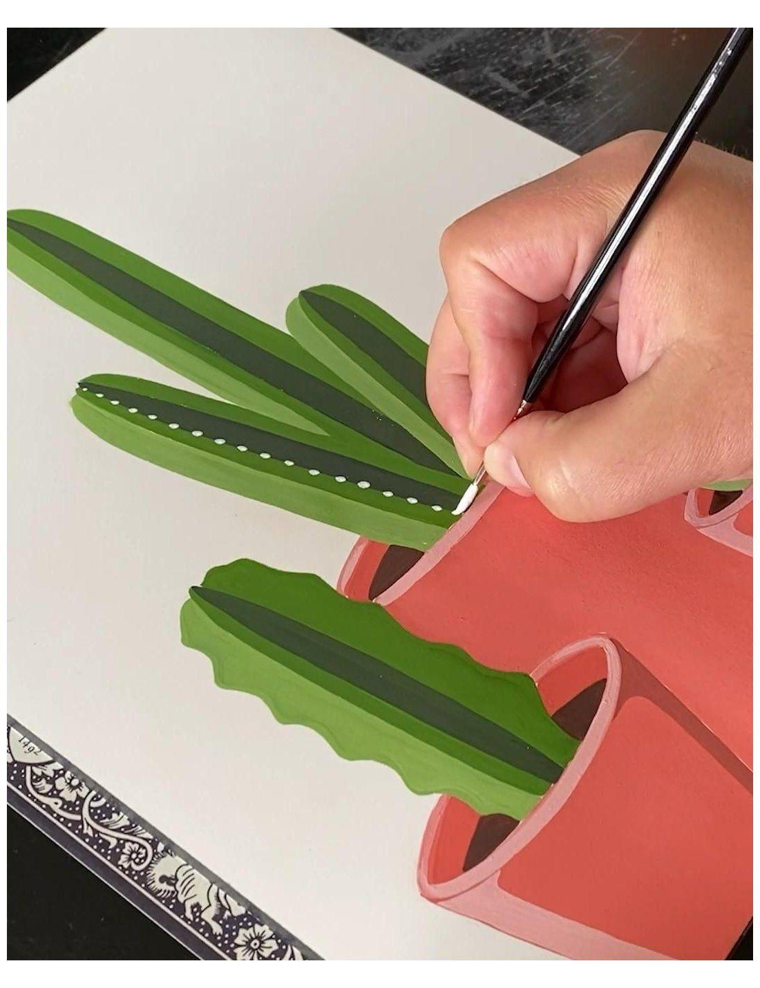 canvas cactus painting