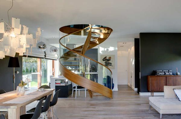 Contemporary Spiral Staircase In Wood And Glass   Spiral Staircases,  Staircases And Modern Interiors
