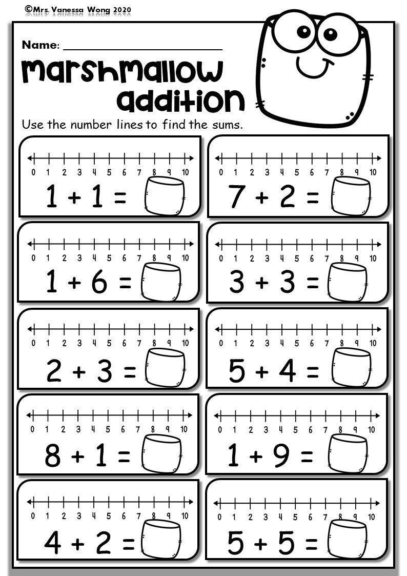 Kindergarten Math Worksheets. Number Line Addition. Distance   Etsy in 2021    Math addition worksheets [ 1123 x 794 Pixel ]