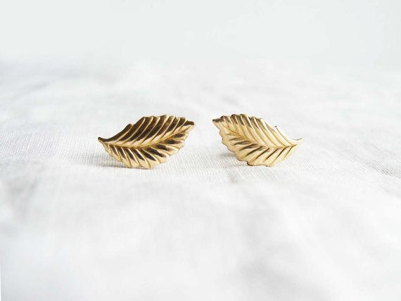 Gold Leaf Earrings Stud