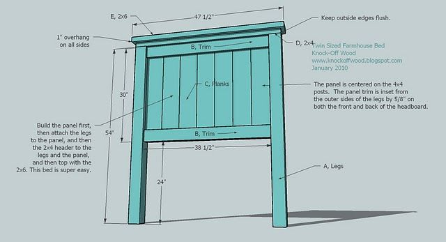 Diy Headboard Plans build a panel headboard | ana white | build a twin farmhouse bed