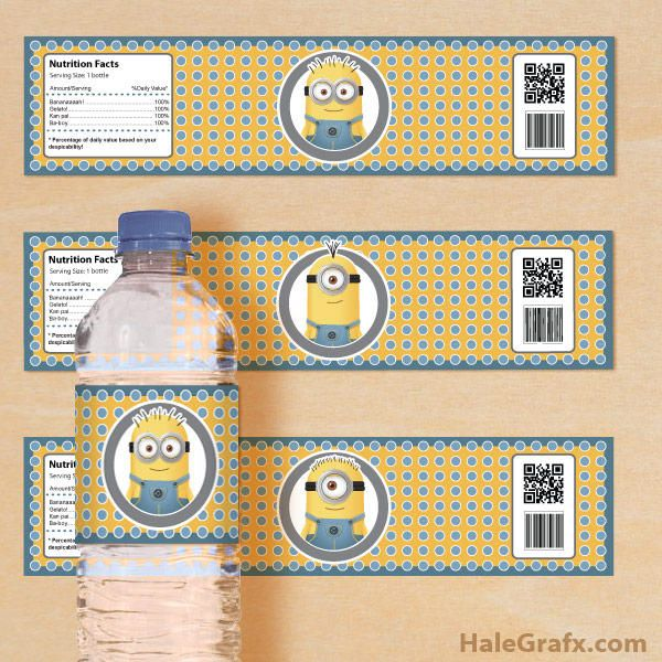 FREE Printable Despicable Me Minions Water Bottle Labels Minion - water bottle label template