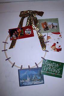 Card wreath---hoop, glue, clothespins.