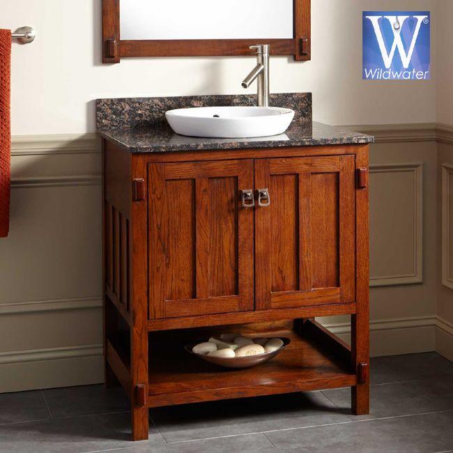 Oak Mission Bathroom Vanity Mission Style Bathroom Vessel Sink