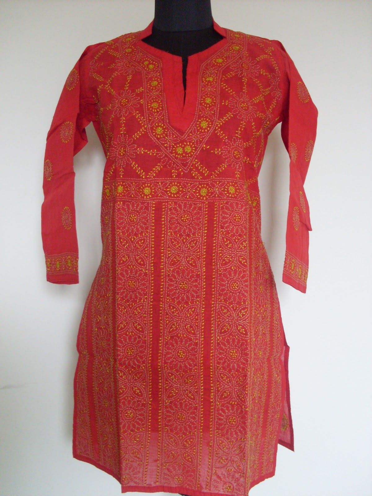 Red chikankari kurti kurtis pinterest kurtis and kurti
