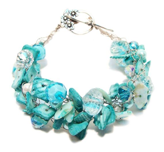 Aqua Shells, Pearls, Glass Clamshell Beads and Turquoise Handmade Wire Crocheted Bracelet