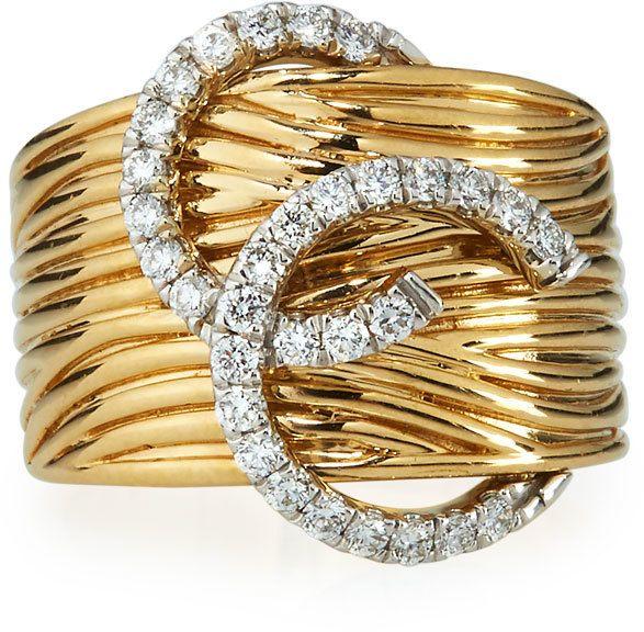 Neiman Marcus Diamonds 14k Two Tone Diamond Horseshoe Ring Size 7