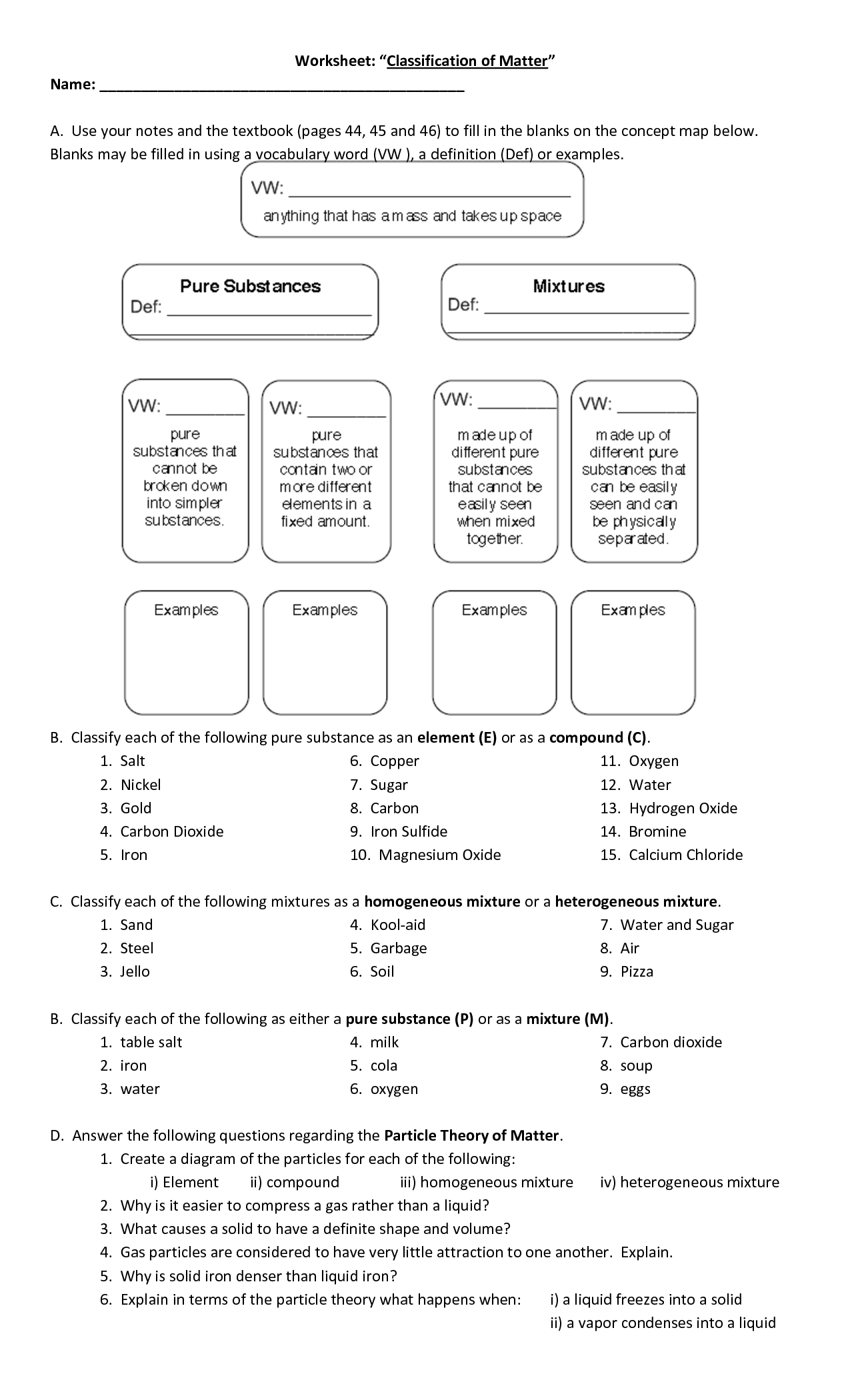 16 Best Images of Classifying Matter Worksheet Classifying ...