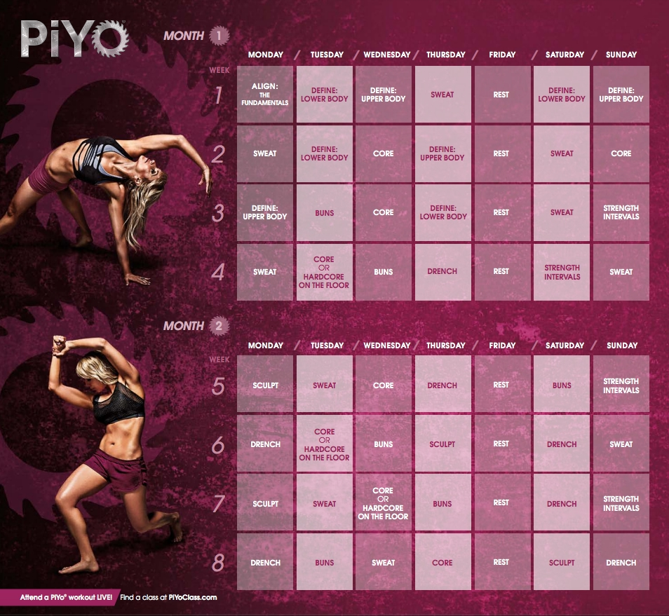 PIYO Workout Calendar #weightlossbeforeandafter | Healthy ...
