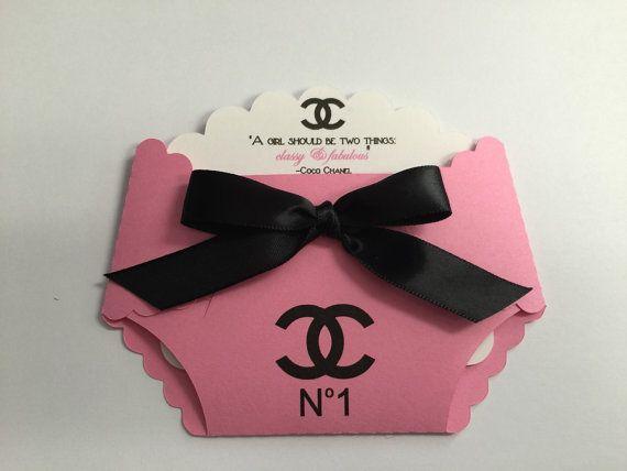 Chanel Baby Shower Diaper Invitation By Annasinvitationshop