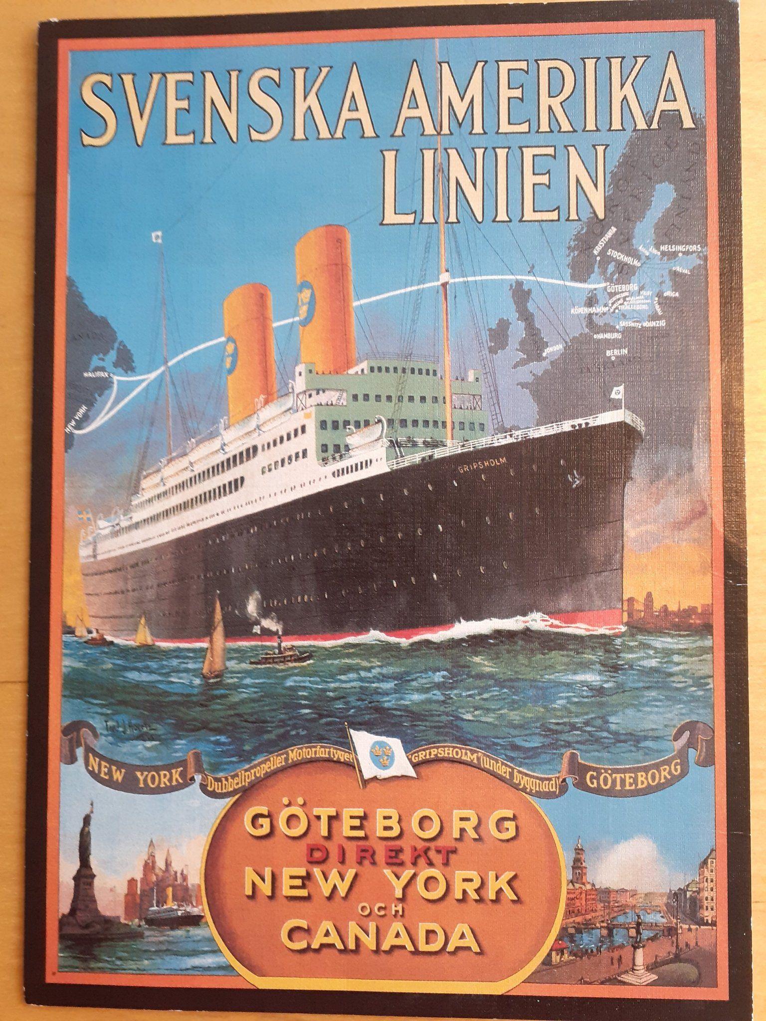 Svenska Amerika Linjen 389907541 ᐈ Kop Pa Tradera Vykort Bilder Fartyg