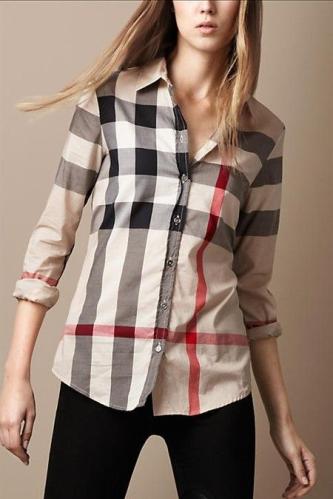 2decebc4a8 Burberry Women's Brit Tonal Check Shirt Carmel | Fashion Favorites ...