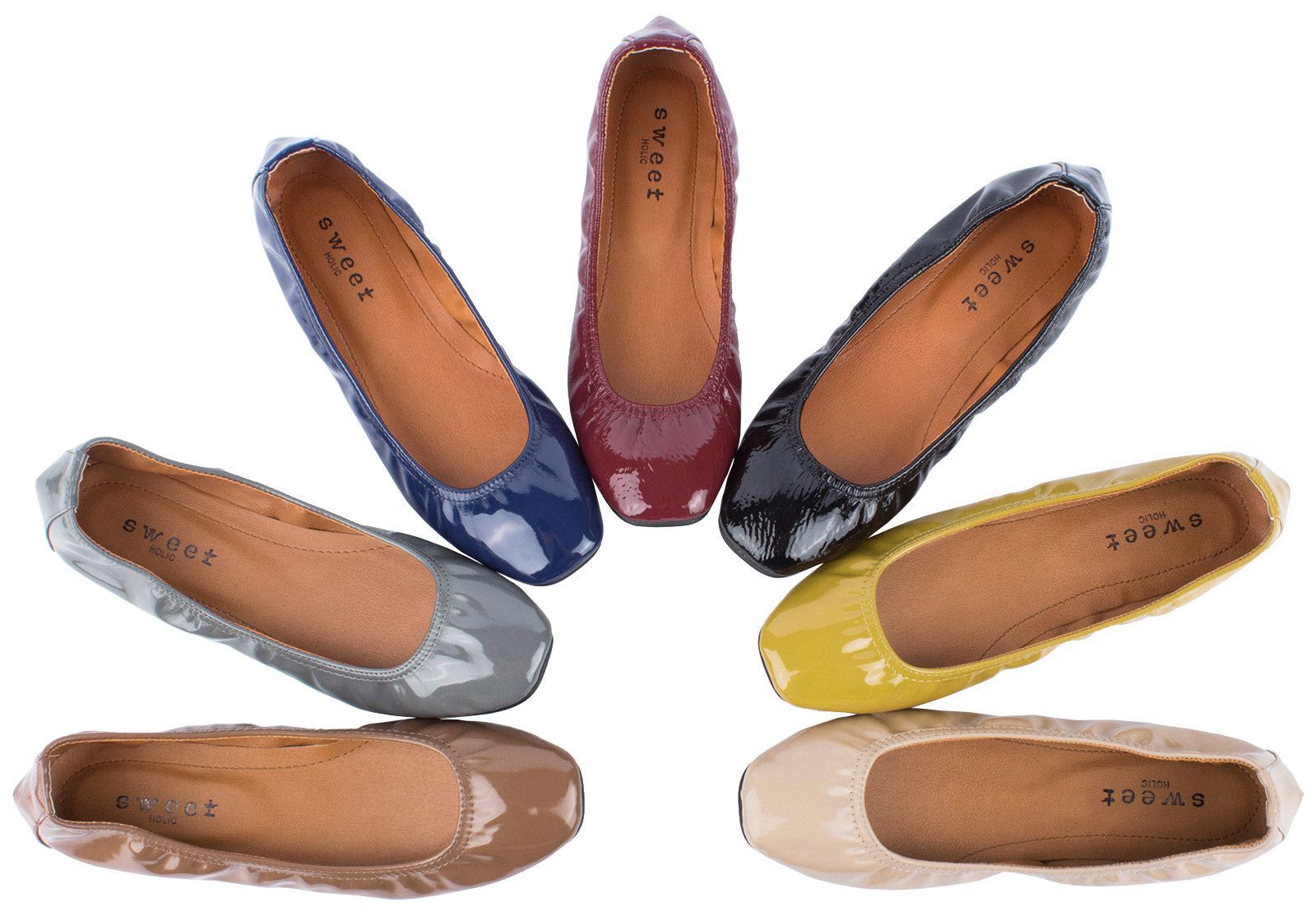 cd07cfb8509 AnnaKastle New Womens Square Toe Patent Leatherette Ballet Flat Shoes US 5  6 7