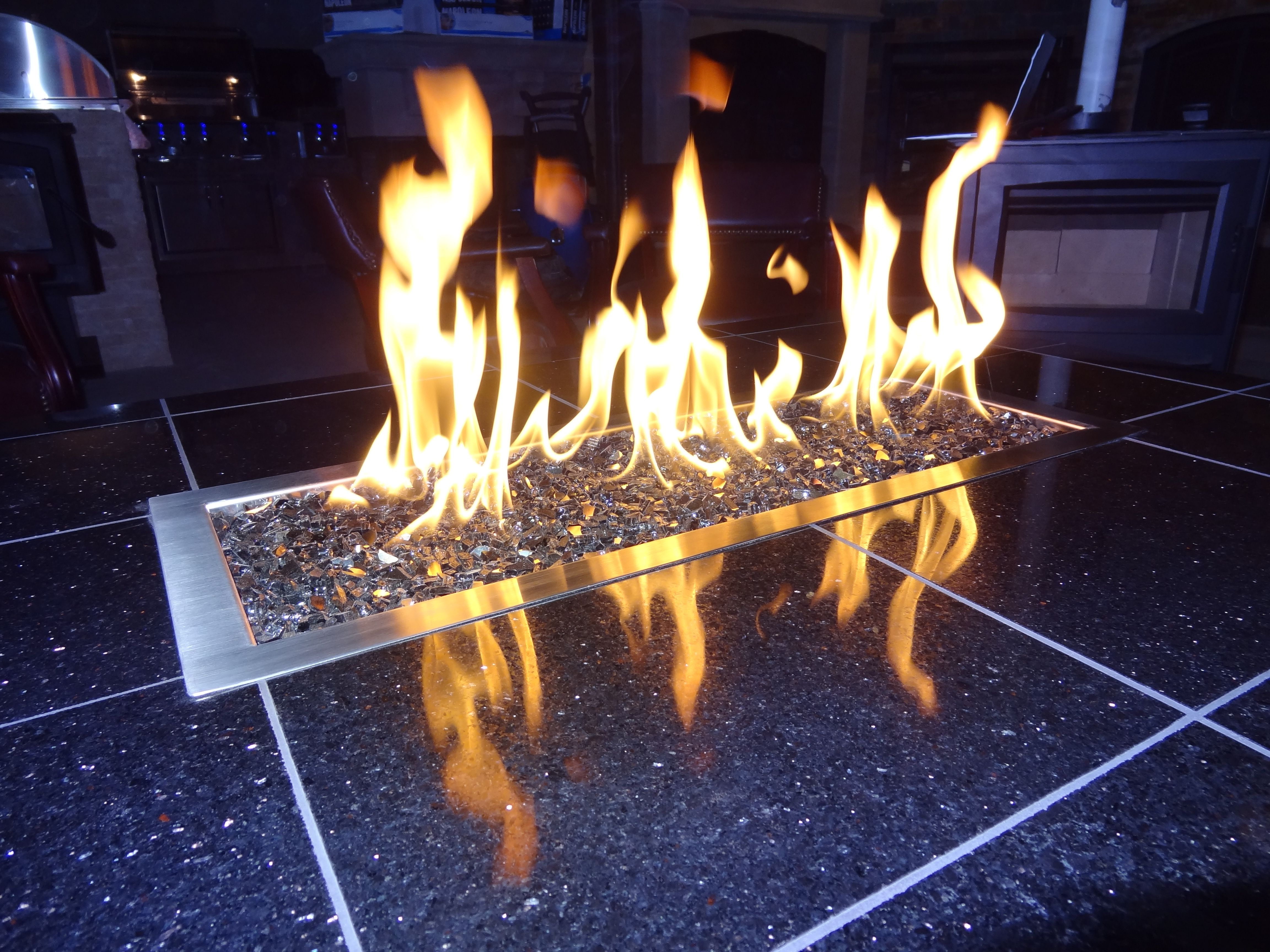 modern linear fire pit with glass embers outdoor pinterest