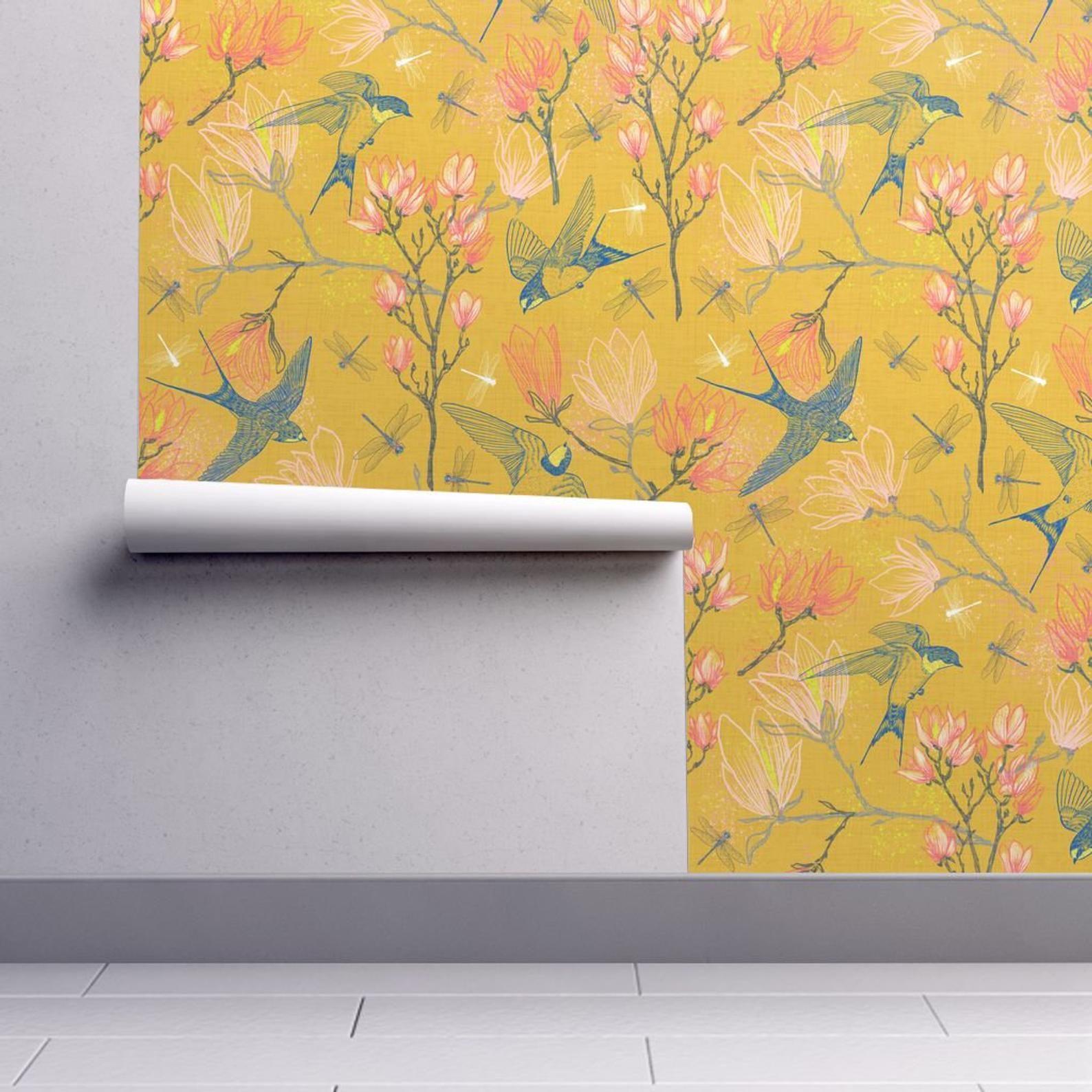 Swallows Wallpaper Golden Summer Magnolias By Helenpdesigns Etsy Self Adhesive Wallpaper Removable Wallpaper Wallpaper