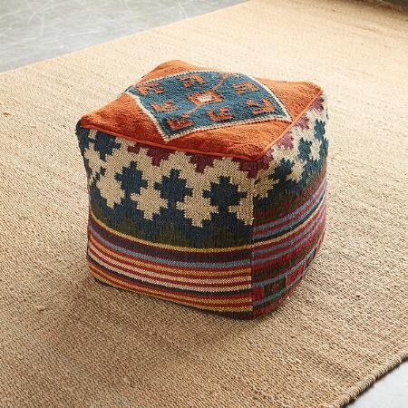 Casa Kilim Pouf With Images Cotton Pouf Pouf Kilim