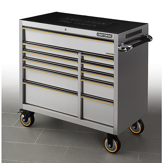 Craftsman Pro Series 41 Inch 11 Drawer Stainless Steel Rolling Cabinet Truck Tool Box Tool Chest Drawers