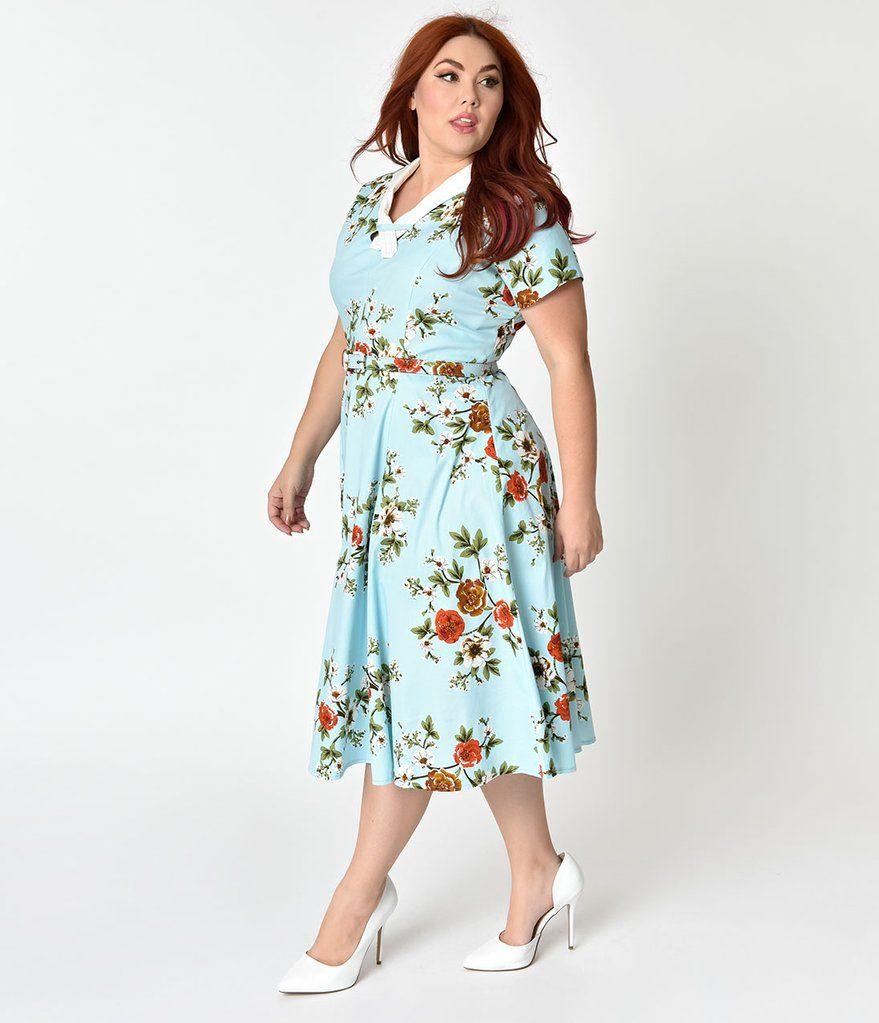 Unique Vintage Plus Size 1940s Light Blue Floral Short Sleeve Kemeja Lavender Multicolor Shop At Velvet Campbell Swing Dress