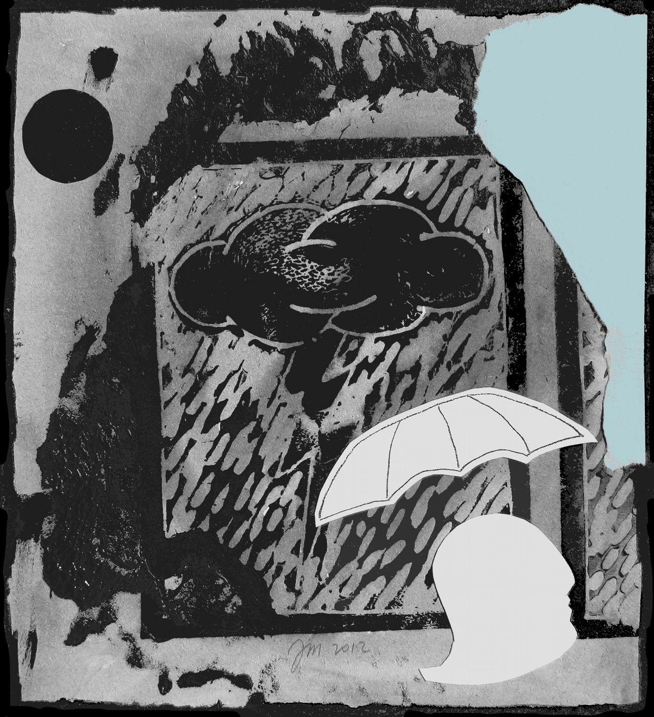 """andrea mattiello """"fuga dalla tempesta""""   acrilico e collage su cartone vegetale cm 20x22; 2012"""