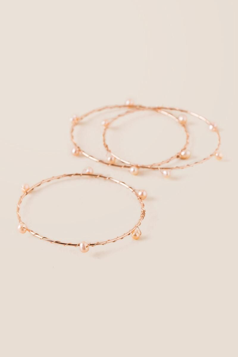 Sophia pearl bangle bracelet set in rose gold bracelet set bangle