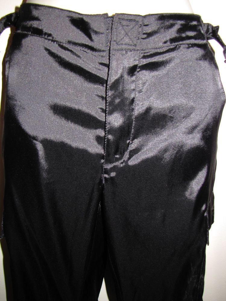 fecb7fe98e DKNY Active Carpenter Pants Black Shiny Polyester Spandex Size 3 Drawstring  Legs…