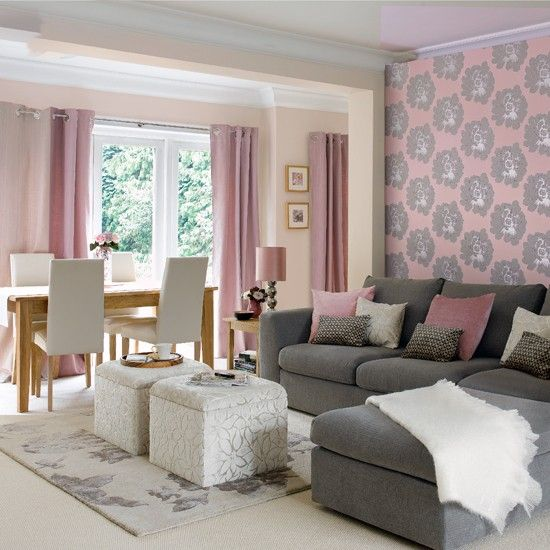A neutral colour palette of dusky pinks and greys creates for Pink living room wallpaper