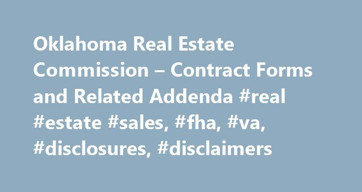 Oklahoma Real Estate Commission  Contract Forms And Related