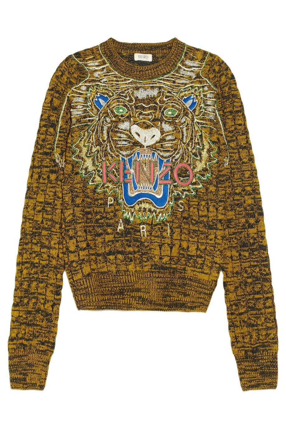cb25a7f4e KENZO | Tiger-embroidered cable-knit wool sweater | NET-A-PORTER.COM ...