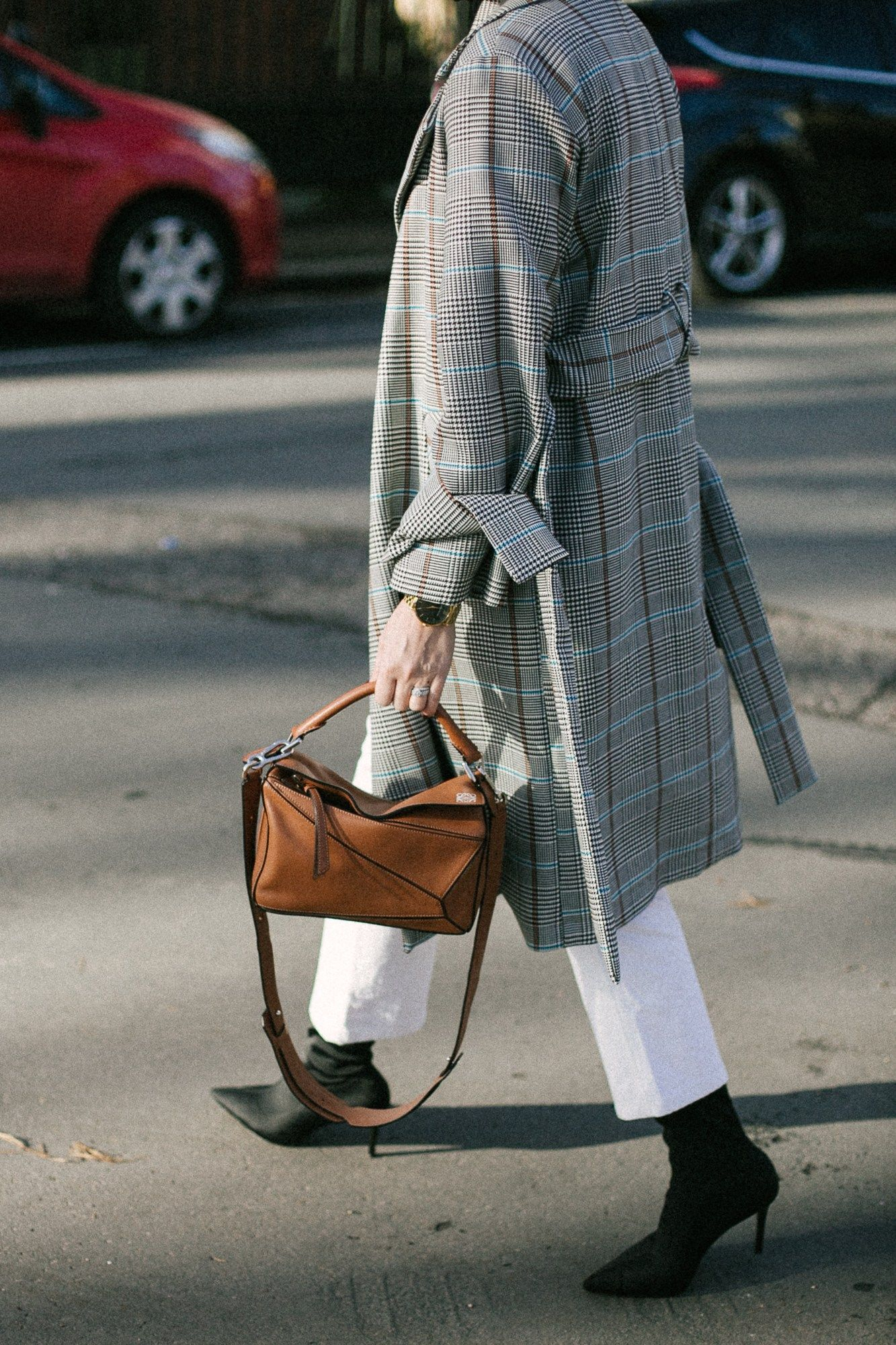 5a604d8b1f8 Emma Hill style, check trench coat, black sock boots, white straight ...