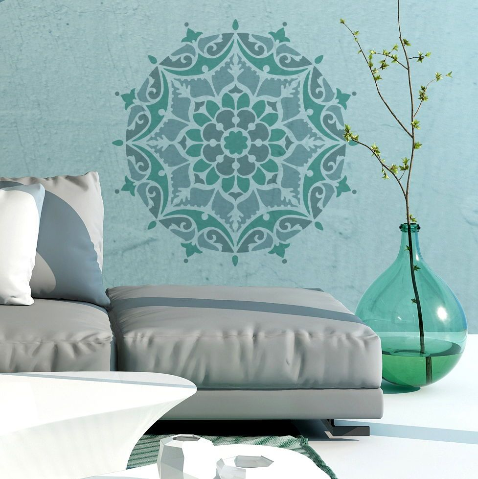 Painted Feature Wall Living Room Ideas On A Budget Using Easy To Use Diy Mandala Stencil Patterns From Cutt Wall Stencil Designs Mandala Stencils Stencils Wall #wall #stencils #for #living #room