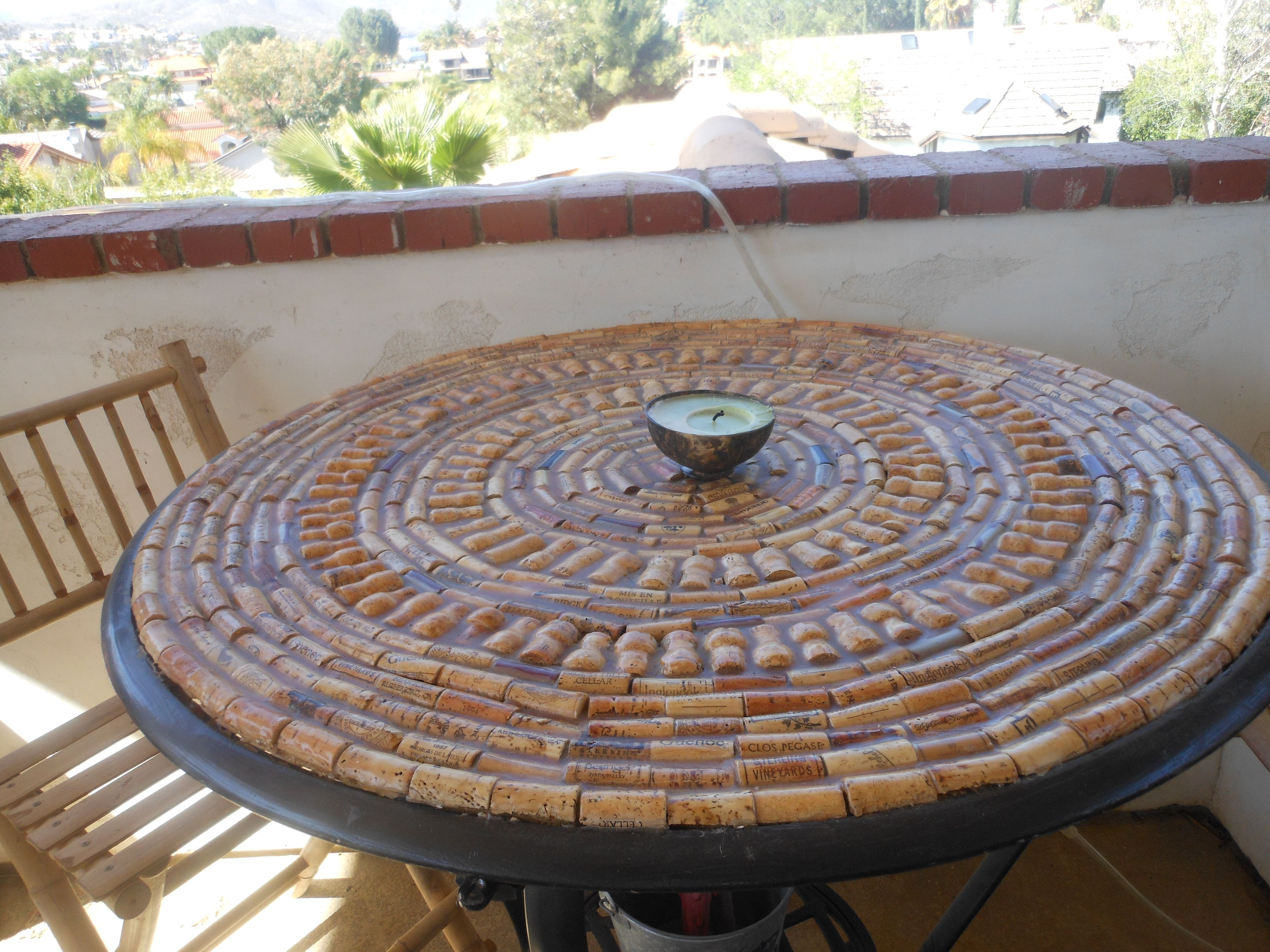 I Made This Table Top With Corks And Resin.