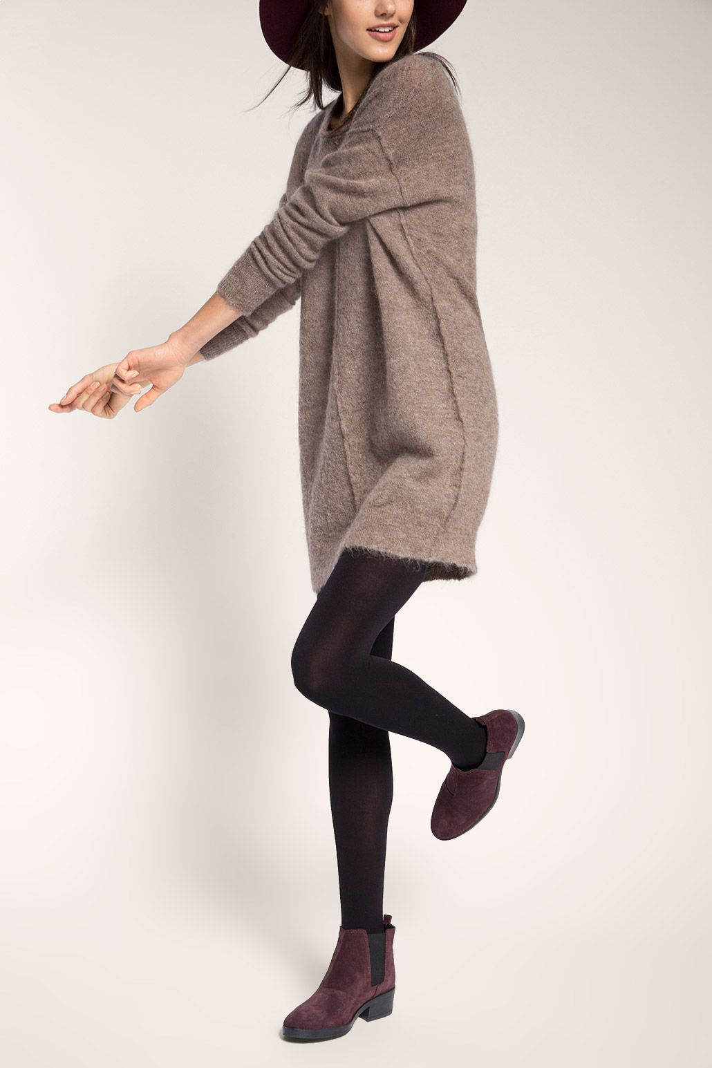 Pullover-Kleid aus Woll-Mix  Braunes outfit, Outfit, Outfit ideen