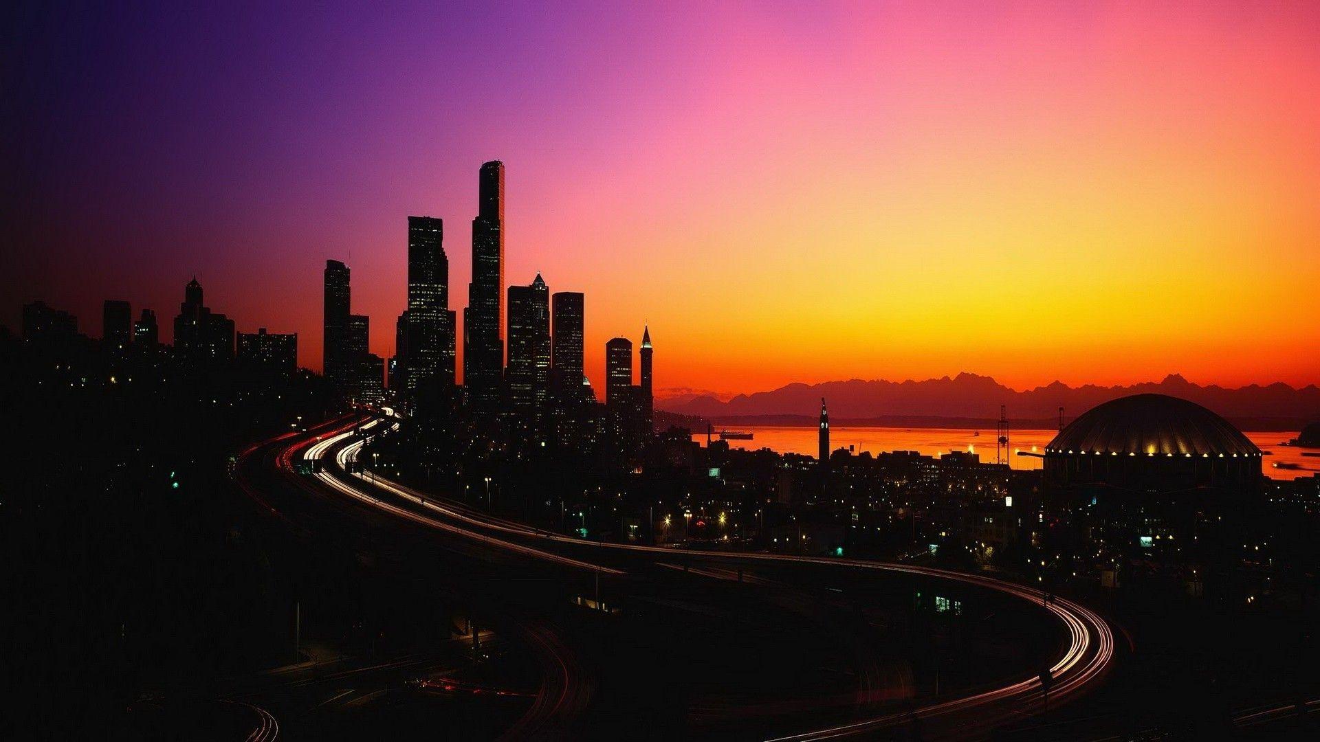City lights in the dusk wallpaper,World Wallpaper,Light Wallpaper, Dusk 1920x1080 HD ...