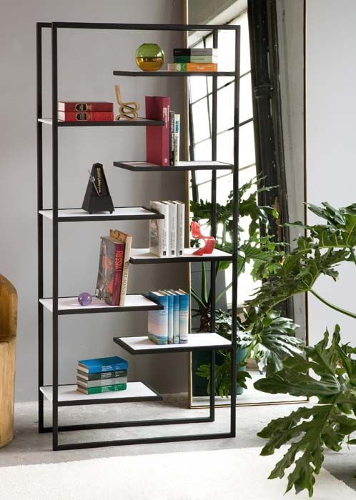 minimalist steel bookcases with corian or bamboo shelves