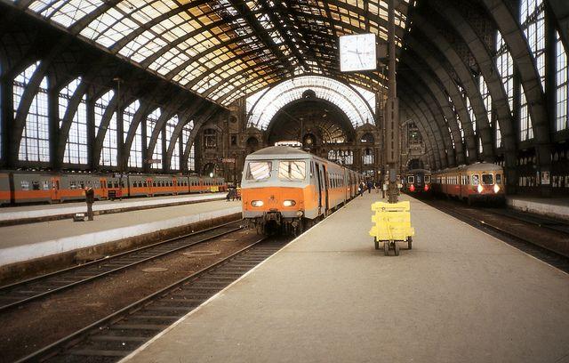 Juli 1980 Antwerpen Centraal Antwerpen Trein Station Trein