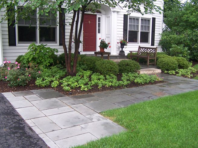 Door yard front entry path arrival departure bench for Front window landscaping ideas
