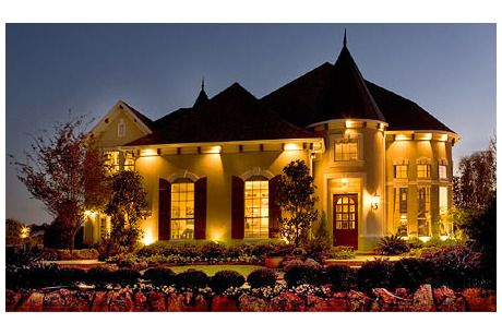 Exquisite landscaping and exterior lighting showcase this French Provincial style home from Toll Brothers in Allen TX near Dallas & Exquisite landscaping and exterior lighting showcase this French ...