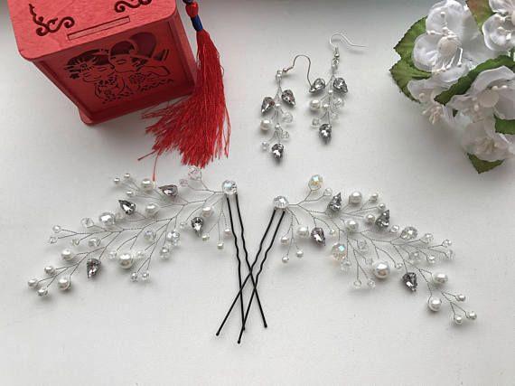 Crystal earrings Bridal earring Silver bridal errings Pink