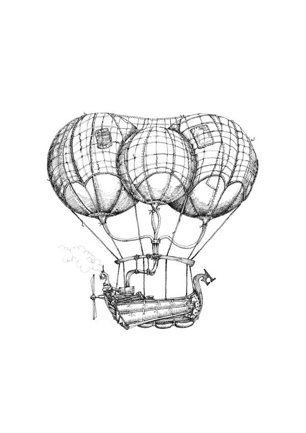 600x848 Steam Airship Drawings Available As Limited Edition Prints