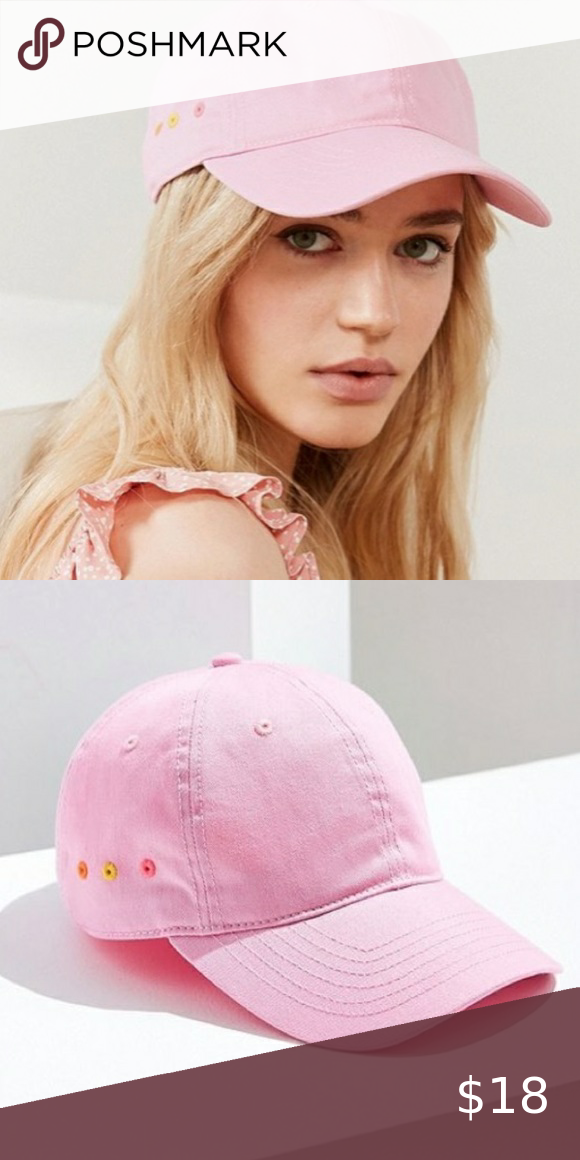 Uo Contrast Grommet Baseball Hat Pink Hat Urban Outfitters Accessories Baseball Hats