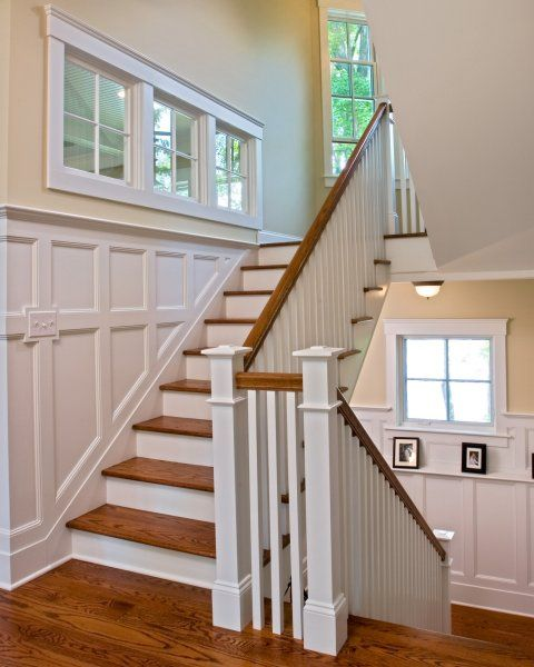 Grey Panelling Under Stairs: Picture Rail On Lower Landing, Wainscot In 2019