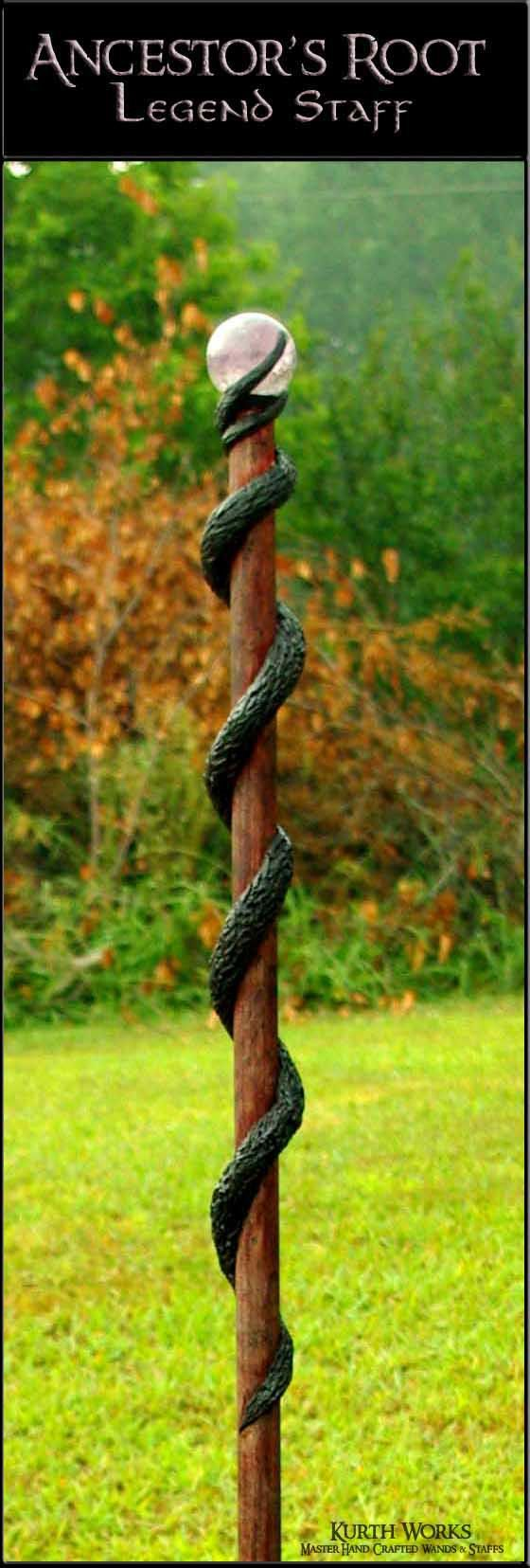Wooden staff designs kurth works custom hand carved magic wizard wands - Ancestor S Root Crystal Wizard Magic Staff