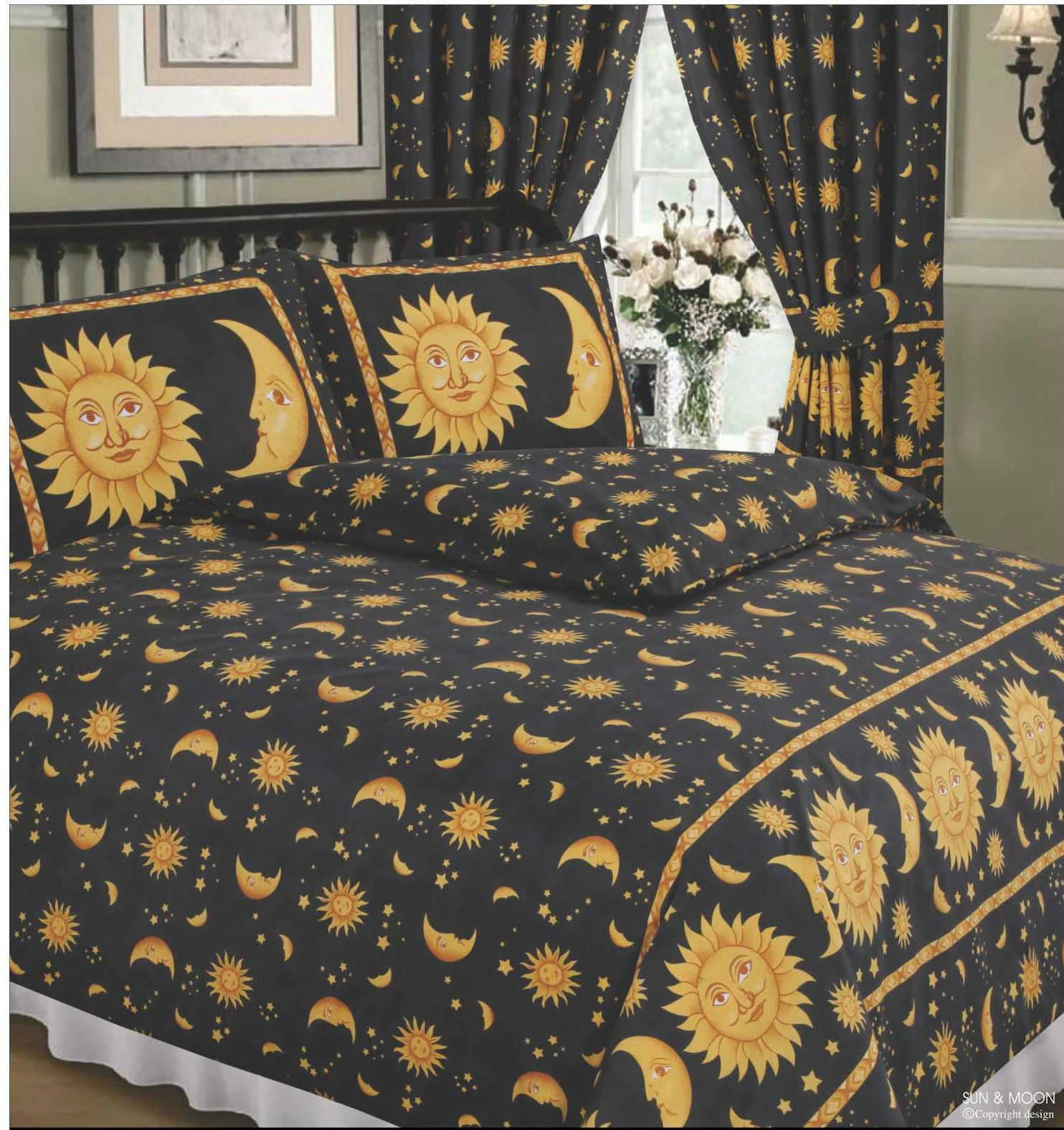 Double Bed Duvet Cover Set Sun And Moon Black Yellow Gold Stars Border 68 Pick Home Duvet Bedding Gold Bed