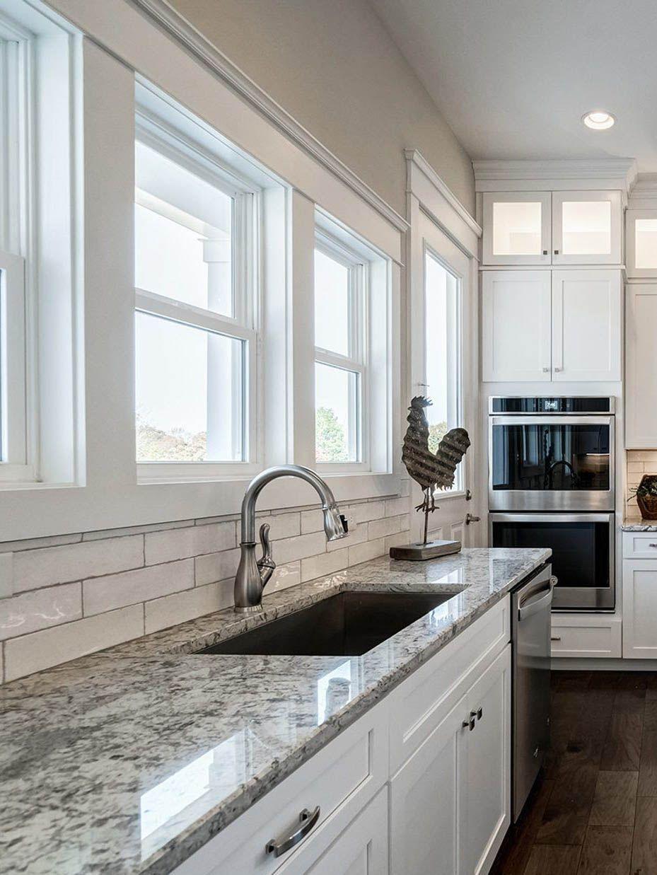 Granite Kitchen Countertops With White Shaker Style Cabinets White Subway Tile Granite Countertops Kitchen White Subway Tile Backsplash White Shaker Kitchen White kitchen granite ideas