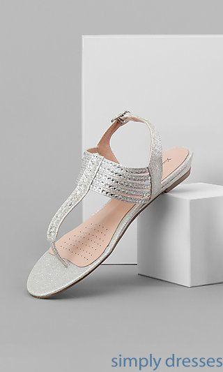 Silver Open-Toe Prom Sandals
